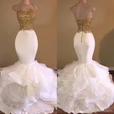 Black And Gold Lace Prom Dress Mermaid White And Gold Prom Dresses 2017 Spaghetti Strap