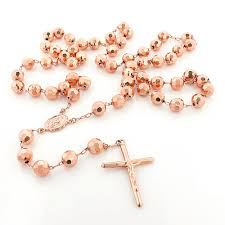 mens rose gold necklace images 14k solid rose gold rosary beads necklace 8mm 30in jpg