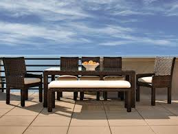 Resin Wicker Patio Dining Set - dark brown wicker dining set with chairs also bench having white