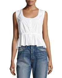 white sleeveless blouse frame sleeveless tie back peplum blouse white neiman