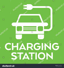 electric vehicles logo green vehicle charging station sign vector stock vector 570448393