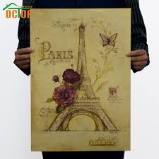 online get cheap wall murals posters aliexpress com alibaba group romantic paris retro poster rose eiffel tower wall murals stickers kraft paper home decor china