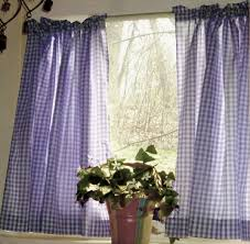 White Cafe Curtains Purple Gingham Kitchen Café Curtain Unlined Or With White Or