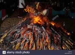 pit fires agni kavadi agnikavadi fire walking temple night ritual in stock