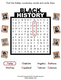 black history month activities games and worksheets for kids
