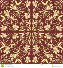 decorative vintage tile with golden floral swirl patterns in art