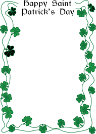 clipart of a happy st patricks day greeting and shamrock clover border