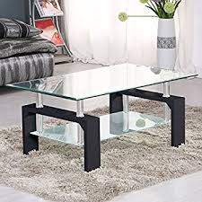 Black Living Room Tables Suncoo Rectangular Glass Coffee Table Shelf Wood