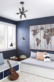 Daybed For Boys Blue And Gray Shared Boys Room Features A Distressed Wood Map