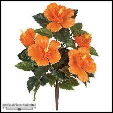 21in outdoor artificial hibiscus bush orange