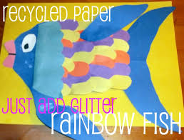 Easy Paper Craft Ideas For Kids - recycled scrap paper craft rainbow fish theme for preschool kids