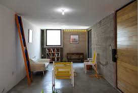 interior concrete walls small affordable house with three materials construction idea