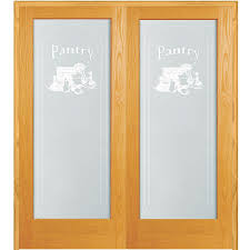 French Double Doors Interior 61 5 In X 81 75 In Pantry Decorative Glass 1 Lite Unfinished