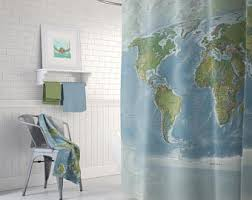 Shower Curtain Map Map Shower Curtain Etsy