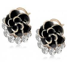 diamond studded camellia shape diamond studded stud earring 1 24 online