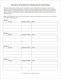 positive activities for behavioral activation worksheet psychpoint