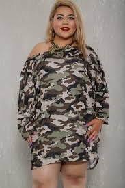 Plus Size Camouflage Clothing Camo Print Off The Shoulder Long Sleeve Razor Cut Plus Size Dress
