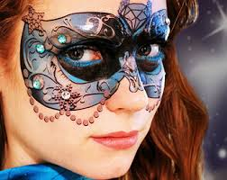 blue crystal carnival mask temporary makeup tattoo for mardi