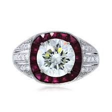 Ruby Wedding Rings by Platinum Gia Certified 2 19ct Round Diamond And Ruby Engagement Ring