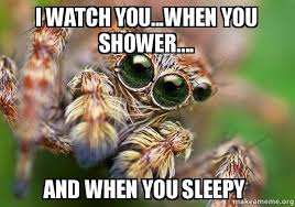 Shower Spider Meme - i watch you when you shower and when you sleepy hipster