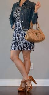 post blue dress jean jacket tan heels