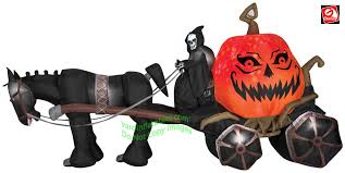 Pumpkin Carriage Gemmy Airblown Inflatable 14 U0027 Fire U0026 Ice Reaper Pumpkin Carriage W