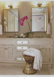 rustic bathroom with phoebe hand towel bars and double mirror