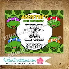 teenage mutant ninja turtle invitations printable digital or prints
