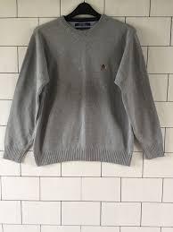vintage hilfiger sweaters mens grey hilfiger vintage retro chunky knit sweater