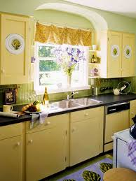 Yellow Kitchen Cabinet Painted And Stenciled Kitchen Cabinets Hooked On Houses