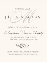 donation wedding registry wedding program thank you wording donation in lieu of favors