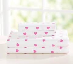 heart sheet set bright pink pottery barn kids