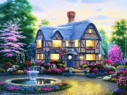 country cottage wallpaper country cottage wallpaper garden painting trees house hd