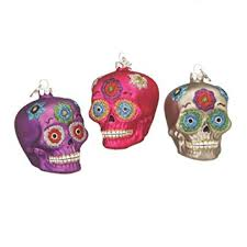 day of the dead sugar skulls glass ornaments set of 3