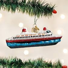 world cruise ship glass blown ornament