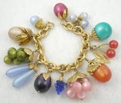 vintage gold bracelet charms images Napier lucite moonglow quot tropicana quot charm bracelet garden party jpg