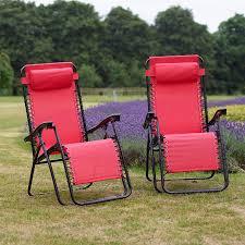 rocking recliner garden chair set of 2 vinsani textoline gravity reclining garden chairs ebay