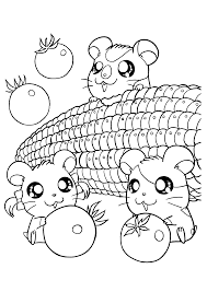 hamtaro and friends and fruits hamtaro coloring pages