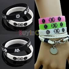 fashion bracelet silicone images Fashion new charming black white exo team logo silicone women girl jpg