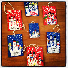 ornament idea finger snowmen painted on cardboard with