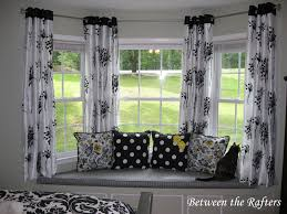 decor french window with pattern curtains and bay window curtain