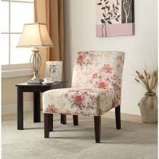 riston accent chair in floral fabric pink beige by acme furniture