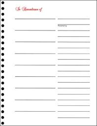 memorial book memorial book sheets in remembrance 9 entry pkg of 10