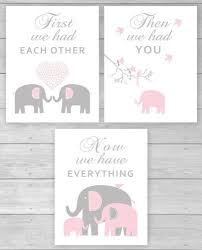 Pink Elephant Nursery Decor Canvas Prints Elephant Nursery Decor Pink And Gray
