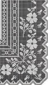 filet crochet pattern floral tea table cloth diagrams