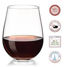 unbreakable plastic wine glasses set of 12 stemless red white