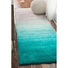 Plush Runner Rugs Nuloom Handmade Soft And Plush Ombre Shag Turquoise Runner Rug 2