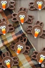 pretzel turkeys with peanut butter cups thanksgiving treat lce