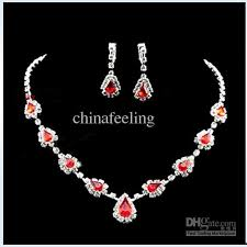 red crystal necklace set images 2018 red rhinestone earring necklace set red crystal jewelry set jpg