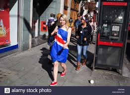 Uk Flag Dress Woman On Her Hen Party Wearing A Union Jack Flag As A Dress